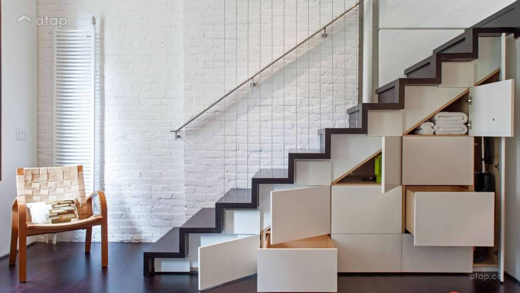 Built-In Storage in a Minimalist Staircase