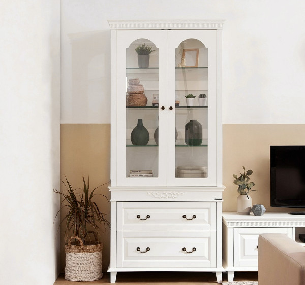 Display Shelf Rack with Glass Doors