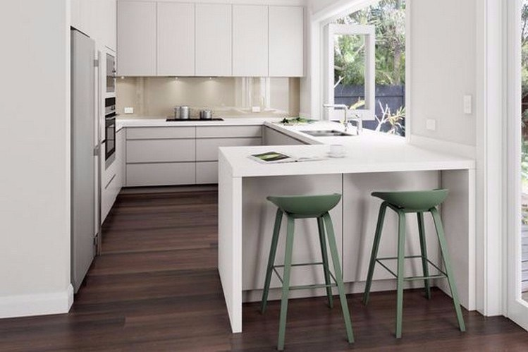 Minimalist kitchen with table and bar