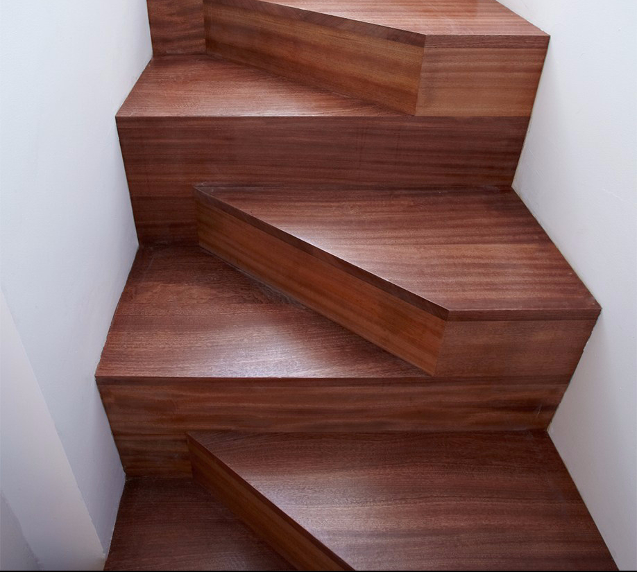 Modern Wooden Staircase with Zigzag Design