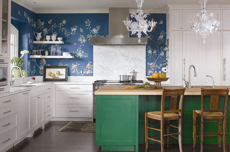 L-shaped kitchen design with an eclectic style