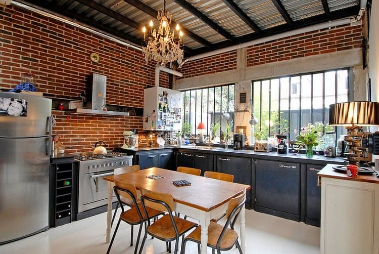 L-shaped kitchen design with exposed walls