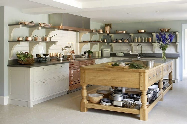 L-shaped kitchen design with open furniture