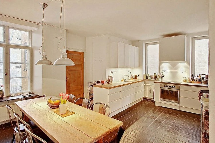 L-shaped kitchen design with traditional nuances