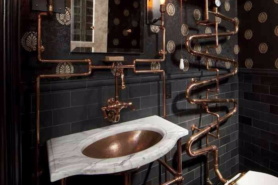 Unique Industrial Bathroom with Pipes